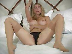 Babe, Blonde, Lingerie, Stockings