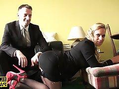 British, Lingerie, Spanking, Stockings
