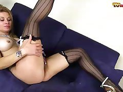 Big Boobs, Blonde, Masturbation, Pantyhose