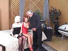 Threesome, MILF, Blonde, Redhead, Lingerie
