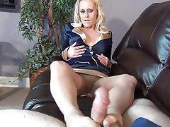 Blonde, Foot Fetish, Stockings